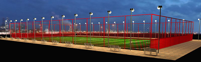 Welded mesh sports fence